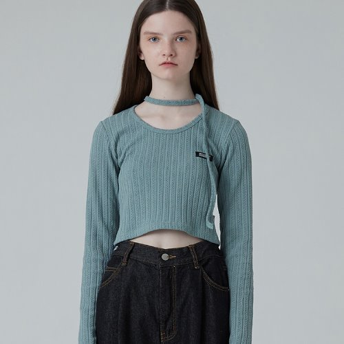 매치글로브 MG0F CROP POINT KNIT TEE (BLUE)